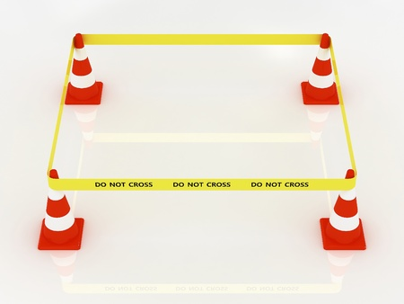 Photo for Do not cross police line with road cone - Royalty Free Image