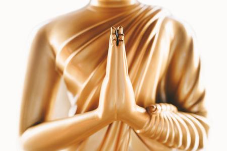 Foto de Close up of the hands of statue Buddha - Imagen libre de derechos