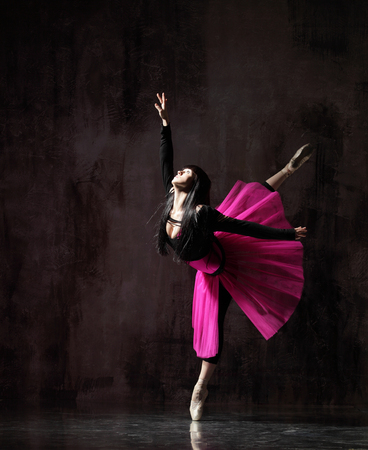 Photo for one ballerina dancing in pink tutu - Royalty Free Image