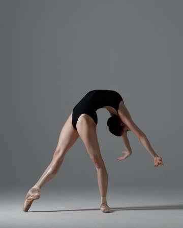 Photo pour Young beautiful ballet dancer is posing in studio - image libre de droit