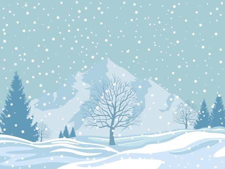 Foto de Winter landscape on snowy background. Christmas vector illustration. - Imagen libre de derechos