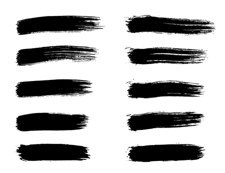 Illustration for Set of grunge black brush strokes for artistic design elements. Hand made creative abstract paint brush stroke - Royalty Free Image