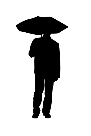 Silhouette of man with an umbrella on white background. Isolated Vector Illustration.のイラスト素材