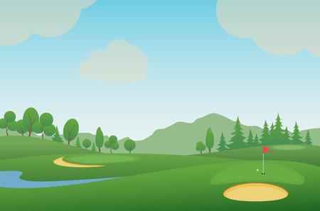 Golf course. Vector illustration.