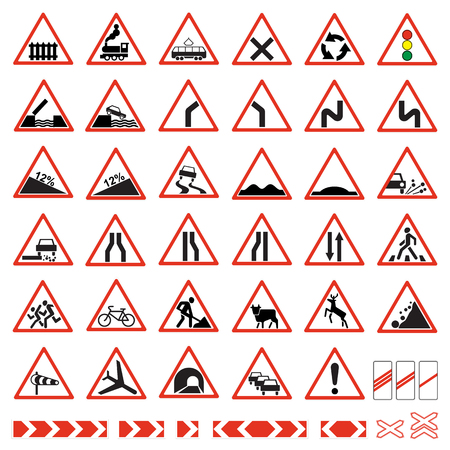 Road  signs set. Warning traffic signs collection.