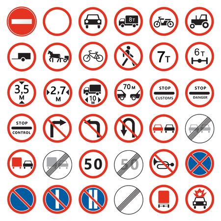 Illustration pour Road  signs set. Prohibiting traffic signs collection. - image libre de droit
