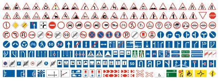 Ilustración de Highway warning, priority, prohibitory signs collection. Set of more than two hundred road signs. - Imagen libre de derechos