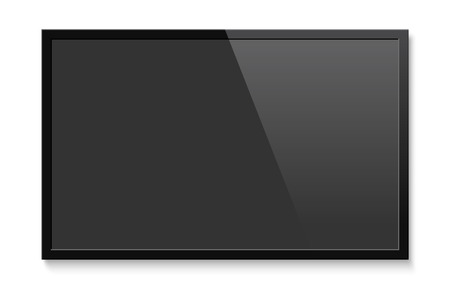 Illustration pour Realistic TV screen. Blank television lcd panel mock up. Isolated vector illustration on white background. - image libre de droit