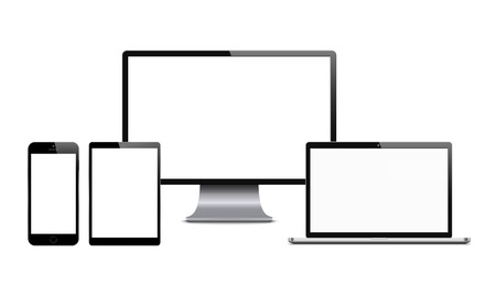 Illustration pour Smartphone, computer monitor, laptop and tablet. Set of digital tech devices with blank screens. Vector illustration on white background. - image libre de droit
