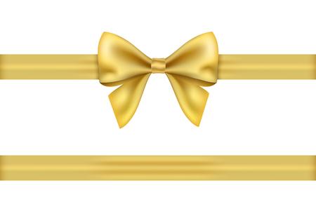Illustration pour Golden gift ribbon and bow on white background. - image libre de droit