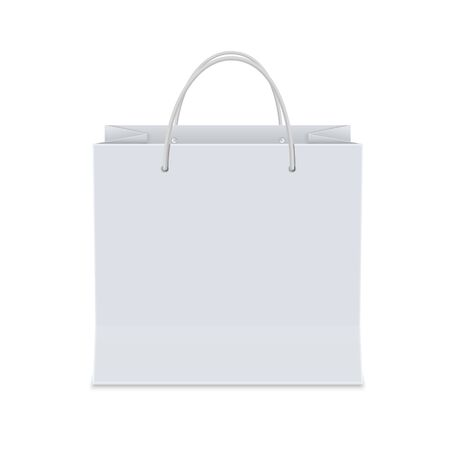 Illustration for Empty  white shopping paper bag. Isolated vector illustration realistic mock up on white background. - Royalty Free Image