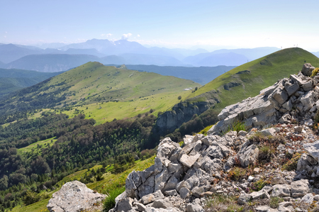 green and rocky mountainous landscape