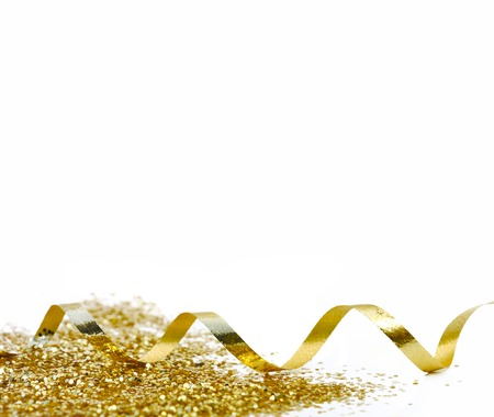 Photo pour ribbon and golden confetti on white background - image libre de droit
