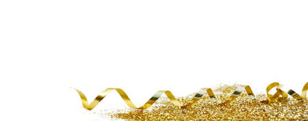 Photo pour ribbon curling and golden confetti on white background in panoramic view - image libre de droit