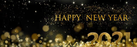 Photo for 2021 golden figures standing in ribbon and blur lights in starry night with text happy new year - Royalty Free Image
