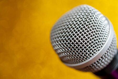 Photo pour Professional dynamic microphone. Concert microphone for voice recording and sound enhancement. Sound equipment. - image libre de droit