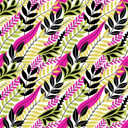 Illustration pour Colorful seamless floral pattern. Stylish summer background with bright tropical leaves. Vector illustration, EPS 10. - image libre de droit