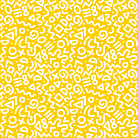 Illustration for Seamless monochrome geometric pattern. Fashion 80-90s. Hipster Memphis style. EPS 10 - Royalty Free Image