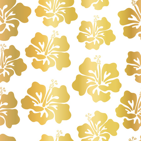 Gold Foil Hibiscus Flower Vector Seamless Pattern Background