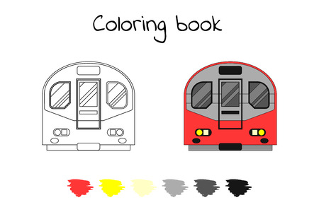 Illustration pour Coloring book for children. Vector illustration. subway train, metro London - image libre de droit