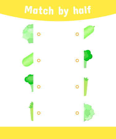Matching game for children with vegetables.