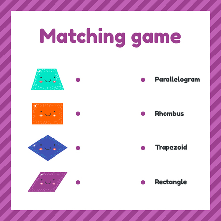 vector illustration. cute geometric figures for kids. Matching game.