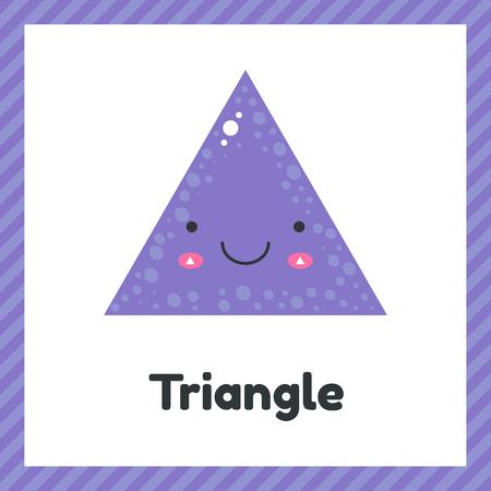 Illustration pour vector illustration. cute geometric figures for kids. Violet shape triangle isolated on white background. - image libre de droit