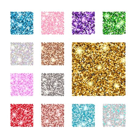Illustration for Vector illustration. Set square color glitter texture pattern. Gold, silver, red, pink, blue green purple - Royalty Free Image