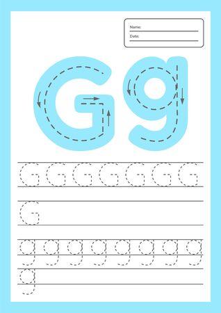 Illustration pour Trace letters worksheet a4 for kids preschool and school age. Vector illustration. - image libre de droit