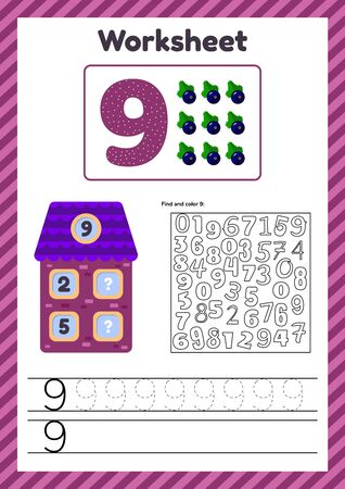 Worksheet count for kids. House. Number bonds. Trace line. The study of mathematics for children of kindergarten, preschool age. Nine. 9.