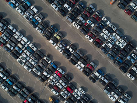 Photo for Aerial view of used wrecked automobile storage lot parking. - Royalty Free Image