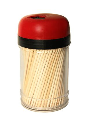 Plastic jar with toothpicks isolated on a white background.