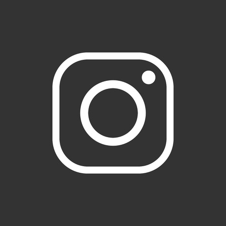 Illustration pour Instagram icon. Hipster camera. Social media vector flat illustration. White icons on black background. - image libre de droit