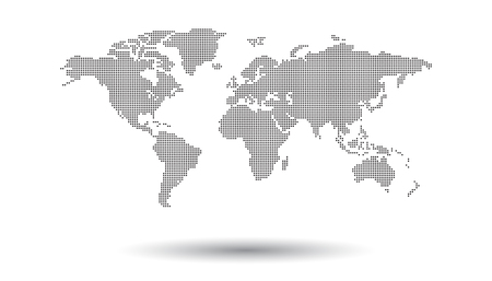 Illustration pour Dotted black world map on white background. World map vector template for website, infographics, design. Flat earth world map illustration - image libre de droit