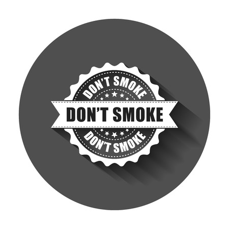 Don't smoke grunge rubber stamp. Vector illustration with long shadow. Business concept no smoking stamp pictogram.