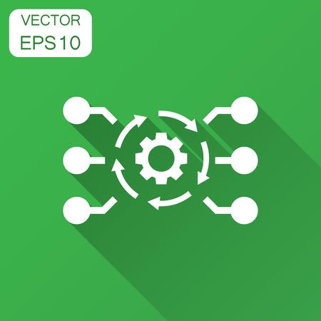 Illustration pour Algorithm api software vector icon in flat style. Business gear with arrow illustration with long shadow. Algorithm concept. - image libre de droit