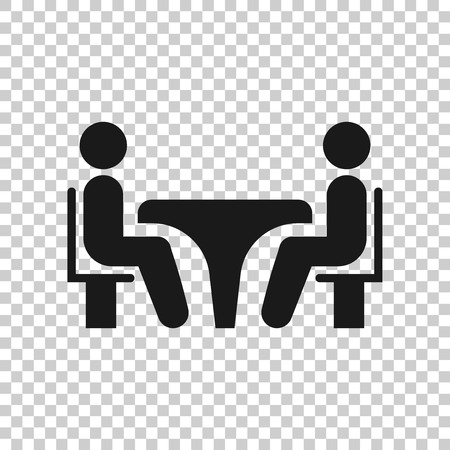 Illustration pour Business consulting icon in transparent style. Two people with table vector illustration on isolated background. Restaurant dialog business concept. - image libre de droit