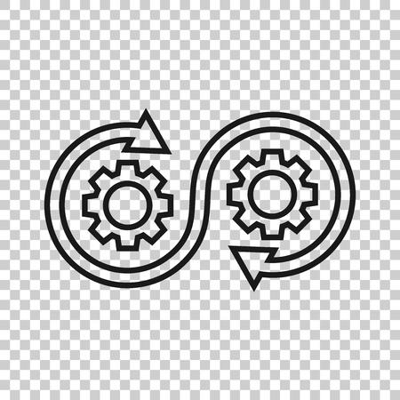 Illustration pour Development icon in transparent style. Devops vector illustration on isolated background. Cog with arrow business concept. - image libre de droit