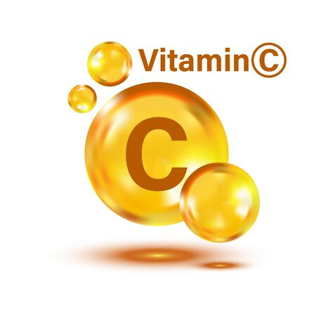 Illustration pour Vitamin C icon in flat style. Pill capcule vector illustration on white isolated background. Drug business concept. - image libre de droit