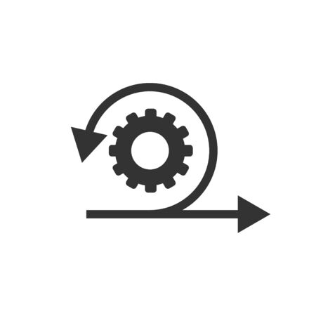 Illustration pour Agile icon in flat style. Flexible vector illustration on white isolated background. Arrow cycle business concept. - image libre de droit