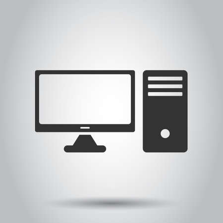 Illustration pour Pc computer icon in flat style. Desktop vector illustration on white isolated background. Device monitor business concept. - image libre de droit