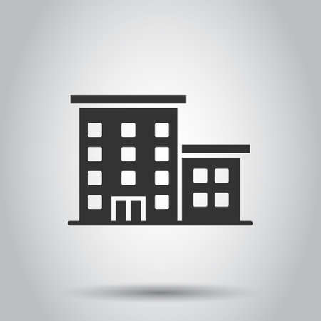 Illustration pour Building icon in flat style. Town skyscraper apartment vector illustration on white isolated background. City tower business concept. - image libre de droit