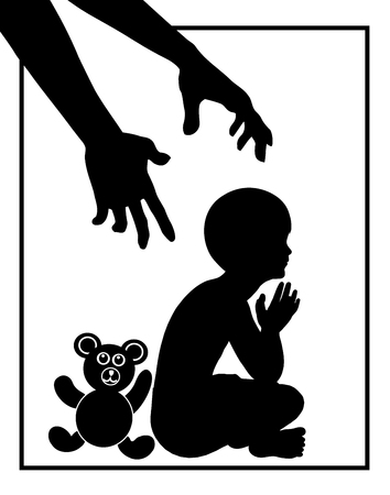 Child Protection. Concept sign of child being threatened by adult person like child molester or domestic violence
