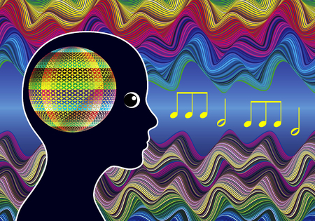 Mind Expanding Music. Woman listens to Healing Sounds expanding her consciousness