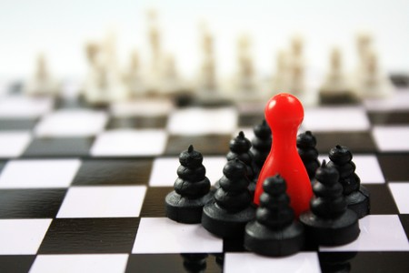 Photo pour Beautiful chess pieces and red ludo figurine concept for many topic. Leadership, defense, competitive, influence,  government… - image libre de droit