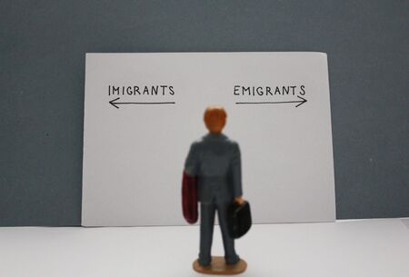 Blurry miniature man looks at emigrants and imigrants arrows. Migration concept.