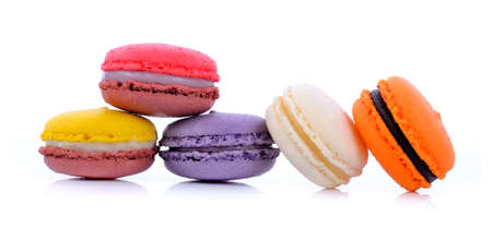 Photo pour Sweet and colourful french macaron on white background - image libre de droit