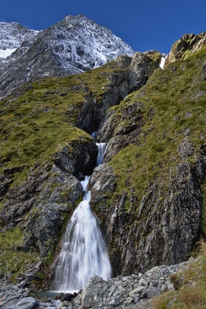 Waterfall under Mount Huxley Upper Ahuriri Valley Canterbury New Zealand