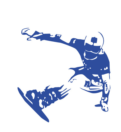 blue silhouette of jumping snowboarder