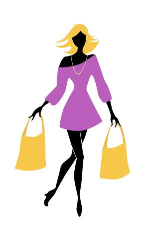 Illustration pour fashion shopping girl with bags - image libre de droit